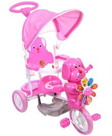 Baby Tricycle With Canopy Dog Design - Pink