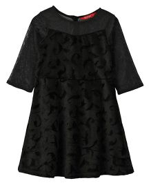 Beebay Net Party Wear Frock Self Print - Black