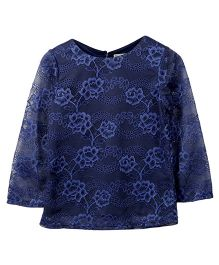 Beebay Full Sleeves Embroidered Net Top - Navy Blue