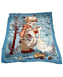 Babyhug 2Ply Mink Blanket - Little Girl & Duck Blue