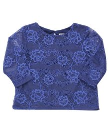 Beebay Full Sleeves Party Wear Net Embroidered Top - Navy