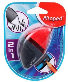 Maped Moondo Sharpener Eraser 2 in 1 - Red