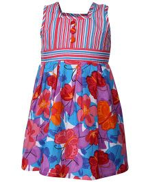 Babyhug Sleeveless Frock Floral Print - Multicolour