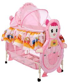 1st Step Baby Cradle With Mosquito Net Doll Design Pink - ST-2132