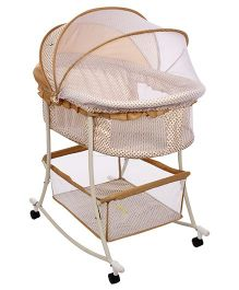 1st Step Bassinet Cum Rocking Cradle With Mosquito Net Brown - ST-2121