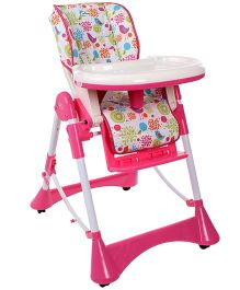 1st Step Adjustable High Chair Birds Print Pink - ST-1088