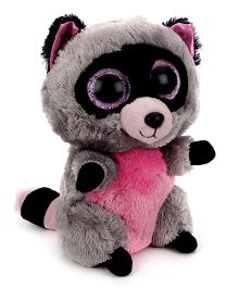 Beanie Babies Boos Raccoon Soft Toy Grey And Pink - Height 6 Inch