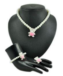 Angel Glitter Polka Pink Teddy White Pearl Jewellery Set