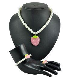 Angel Glitter Sweet Strawberry White Pearl Jewellery Set