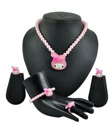 Angel Glitter Bunny With Pink Pearl Jewellery Set