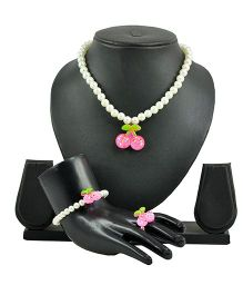 Angel Glitter Strawberry With White Pearl Jewellery Set
