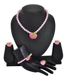 Angel Glitter Apple With Pink Pearl Jewellery Set