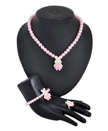 Angel Glitter Rabbit With Pink Pearl Jewellery Set