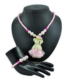 Angel Glitter Teddy With Pink Pearl Jewellery Set