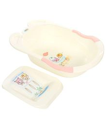 Baby Bath Tub With Bath Support - Cream And Pink