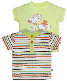 FS Mini Klub Short Sleeves Cotton T-Shirt Printed Pack Of 2 - Multi Color