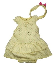 FS Mini Klub Short Sleeves Frock With Attached Bloomer And Headband - Yellow