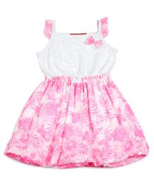 Campana Sleeveless Frock Bow Applique - Pink