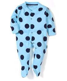 Child World Footed Romper Circle Print - Blue