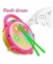 Smiles Creation Flash Drum With Sticks - Yellow And Pink