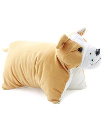 DealBindaas Folding Pillow Bull Dog Applique - Light Brown