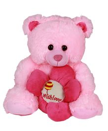 Dealbindaas Teddy Bear With Flower Pink - 30 cm (Colour may Vary)
