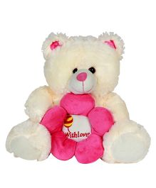 Dealbindaas Teddy Bear With Flower Cream - Height 11.8 inches