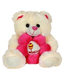 DealBindaas Teddy Bear With Flower Cream - Height 15.7 inches
