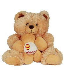 DealBindaas Teddy Bear With Flower Brown - Height 15.7 inches
