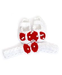 The Original Knit White & Red Booties With Headband