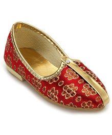 Ethnik's Neu Ron Mojari Shoes Flower Design - Maroon And Golden