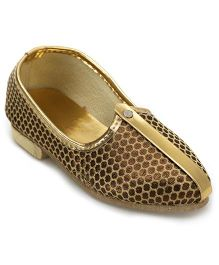 Ethnik's Neu Ron Mojari Shoes Dotted Design - Copper Golden