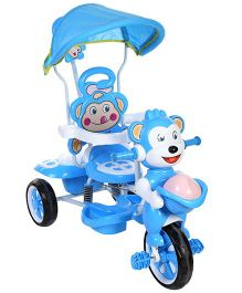 Musical Tricycle With Canopy And Push Handle Monkey Design - Blue And White
