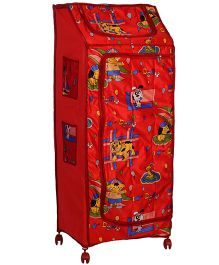 Lovely Smart Jumbo Almirah Puppy Print - Red