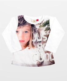Vitamins Top Just Be Cool Print With Studded Detail - White