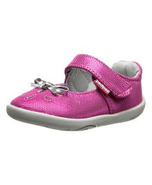 Pediped Shoes With Silver Bow - Olivia Raspberry