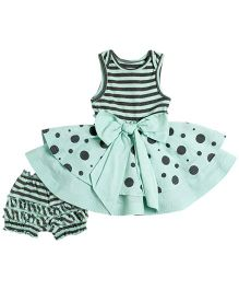 Baby Peony Dress Set - Aqua