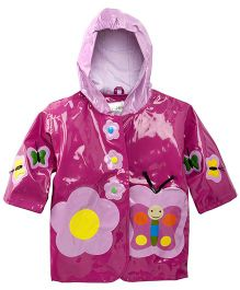 Kidorable Butterfly Print Raincoat - Purple