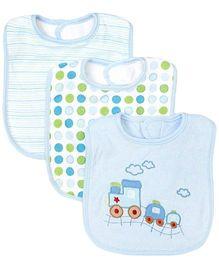 Spasilk Feeding Bibs Train Embroidery Pack Of 3 - Blue