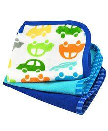 Brights Organic Terry Wash Cloth Multi Car Print Pack Of 3 - Royal Blue