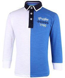 Gini & Jony Full Sleeves T-Shirt 1980 Embroidery - White Navy