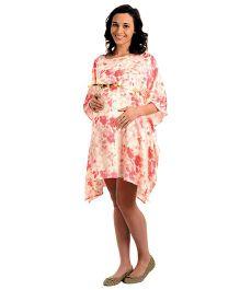 House of Napius Radiation Safe Maternity Floral Kaftan Dress - Rouge