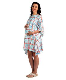House Of Napius Radiation Safe Maternity Large Block Print Kaftan Dress - Blue And Red