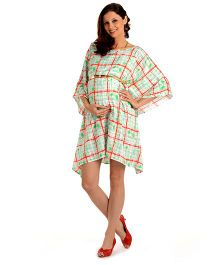 House Of Napius Radiation Safe Maternity Large Block Print Kaftan Dress - Mint Green And Red