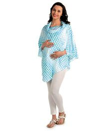 House Of Napius Radiation Safe Maternity Poncho Cowl Neck Style Tunic - Hawaiian Ocean