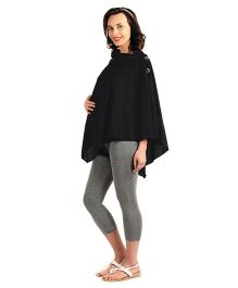 House Of Napius Radiation Safe Maternity Open Style Cowl Neck Poncho - Black