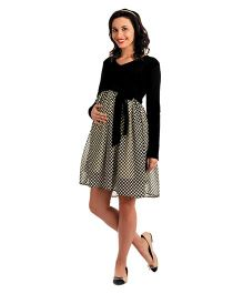 House Of Napius Radiation Safe Full Sleeves Maternity Check Dye Dress - Black