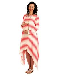 House Of Napius Radiation Safe Maternity Long Dress With Asymmetrical Cut At The Bottom - Rouge