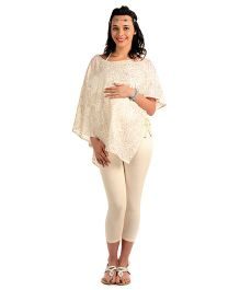 House Of Napius Radiation Safe Maternity Freestyle Tunic With Inner - Off White And Gold