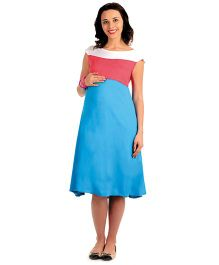 House Of Napius Radiation Safe Maternity A Line Knee Length Flowing Dress - Red And Blue